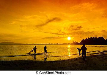 great silhouette fisherman