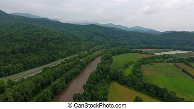 Great smoky mountains areal view. Colorfull field and cloudy...