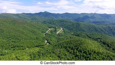 Great smoky mountains areal view. Huge green mountains....