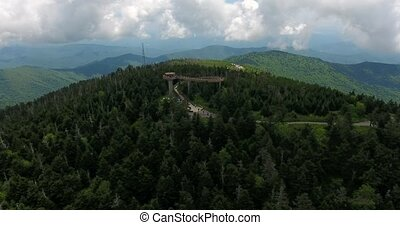 Great smoky mountains areal view with observation tower....