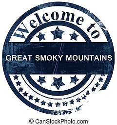Great smoky mountains stamp on white background