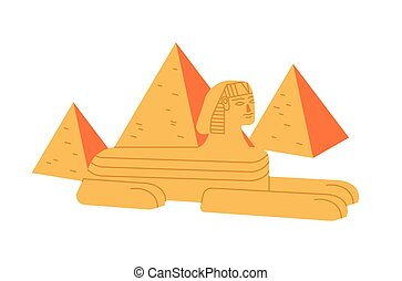 Great sphinx and Giza pyramid complex isolated on white background. Colossal statue of legendary creature from ancient Egypt mythology. Historical and cultural landmark. Flat vector illustration