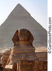 Great Sphinx and pyramid of Khafre in Giza - Close view of...