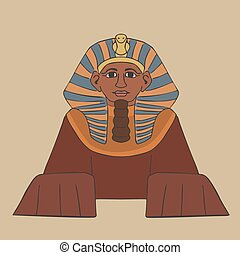 great sphinx cartoon front view, vector illustration of...