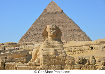 Great Sphinx of Giza against the pyramid of Khafre at Giza,...