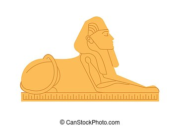 Great sphinx of Giza, deity or mythological creature with human s head and lion s body. Colossal statue of mythical or legendary character from ancient Egypt. Colored flat vector illustration