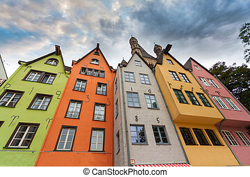 Great St. Martin Church and colorful houses of Cologne. Germany.