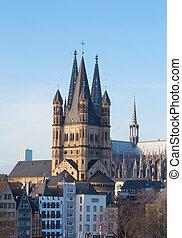 Great St. Martin Churchand . Cologne, North Rhine-Westphalia, Germany