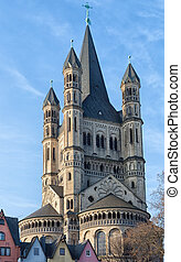 Great St. Martin Churchand . Cologne, North Rhine-Westphalia, Germany,