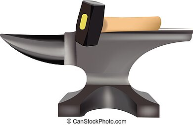 great steel anvil and hammer for blacksmith