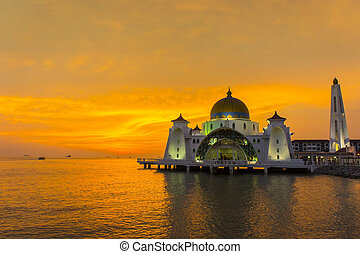 great sunset and floating mosque