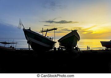 great sunset at fishing village
