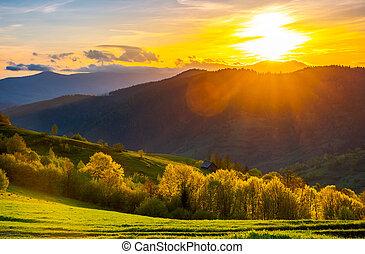 great sunset in Carpathian mountains. beautiful springtime...