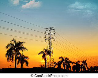 great sunset view electrical tower