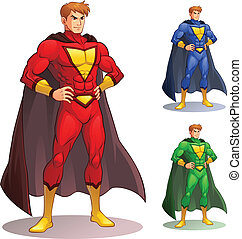 Image of superhero standing with pride and confidence. EPS8 vector file.