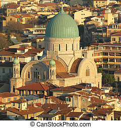 Great Synagogue of Florence seen from above, Tuscany, Italy,...