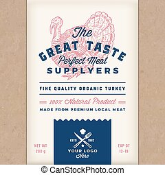 Great Taste Perfect Turkey. Abstract Vector Poultry Meat Packaging Design or Label. retro Typography and Hand Drawn Turkey Silhouette. Craft Paper Vintage Background Layout with Print Effect
