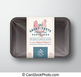Great Taste Poultry. Abstract Vector Meat Plastic Tray...