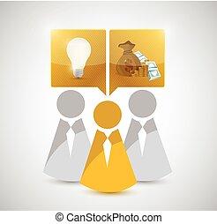 great teamwork ideas make money. concept