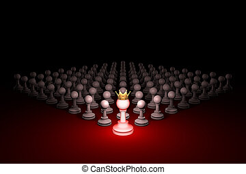 Great threat. Strong army (chess metaphor). 3D rendering illustration. Free space for text.