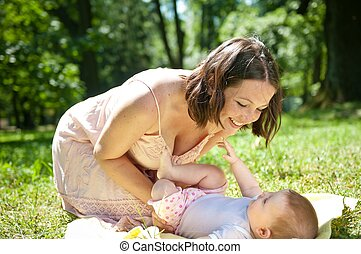 Great time - happy mother with child