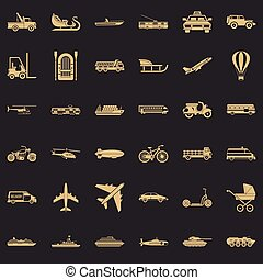 Great transport icons set, simple style