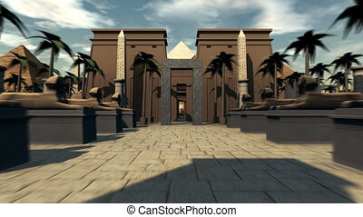 Great travel through ancient archeology of Egypt. 4K - 3D...