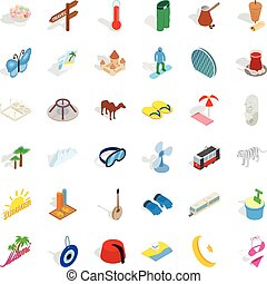 Great vacation icons set, isometric style - Great vacation...