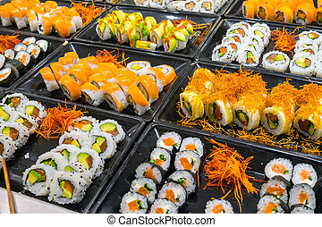 Great variety of sushi rolls