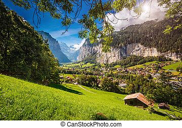 Great view of alpine village. Location place Swiss alps, Lauterbrunnen valley, Europe. Beauty world