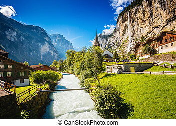 Great view of alpine village. Location place Swiss alps,...