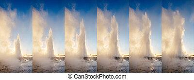Great view of Strokkur geyser. Location place Geyser Park, ...