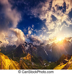Great view of the hills glowing by sunlight. Location famous Grossglockner High Alpine Road, Austria. Europe.