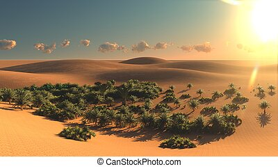 Great view on Sahara desert at sunset 3d rendering - Great...