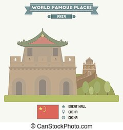 Great Wall, China - Great Wall. Famous Places of China