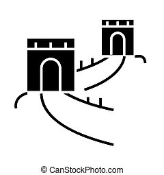 great wall - china icon, vector illustration, black sign on...