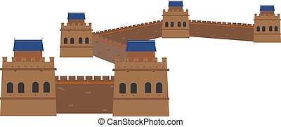 Great Wall, China. Isolated on white background vector...