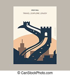 Great wall ,China Vintage Style Landmark Poster Template
