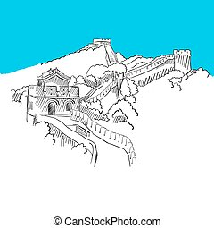Great wall in China, Blue Series, Hand-drawn Vector Artwork