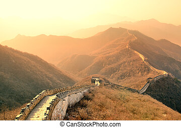 Great Wall morning - Great Wall in the morning with sunrise...