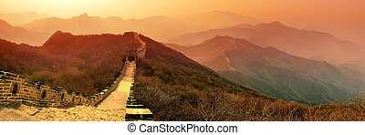 Great Wall morning - Great Wall panorama in the morning with...