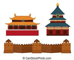 Great wall of China beijing asia landmark brick architecture...