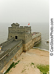 Great Wall of China falls into the sea near Shanhaiguan. -...