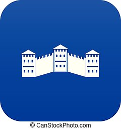 Great Wall of China icon digital blue for any design...