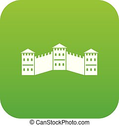 Great Wall of China icon digital green for any design...