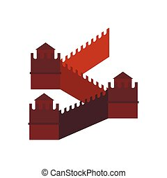 Great Wall of China icon, flat style - Great Wall of China...