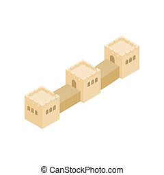 Great Wall of China icon, isometric 3d style - Great Wall of...