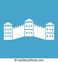 Great Wall of China icon white isolated on blue background...
