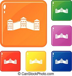 Great Wall of China icons set vector color - Great Wall of...