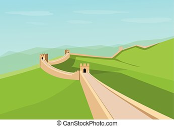 Great Wall of China in flat vector design - Great Wall of...